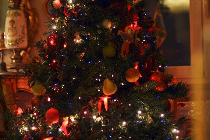 Zum Reinbeißen: Weihnachtsbaum in Neapel mit Äpfel, Birnen, Orangen und Ztitronen (© Redaktion - Portanapoli.com)